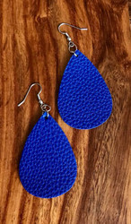 "Resell for 18.00 Or more Cobalt blue leatherette earrings 2 1/4 x 1 1/2"" Surgical steel ear wires Style #CBTLE100518"