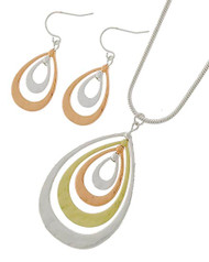"20.00 resell for 60.00 or more Tri-tone / Lead&nickel Compliant / Metal / Fish Hook (earrings) / Pendant / Necklace & Earring Set  •   LENGTH : 16 1/4"" + EXT •   PENDANT : 1 1/4"" X 2"" •   EARRING : 1 3/8""L	 •   SILVER/R.GOLD  Style #TTPNS101518"