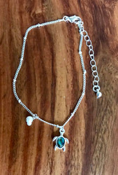 "Resell for 18.00 or more • Color : Abalone, Silver tone • Theme : Animal, Sea Life, Turtle  • Decor Size : 0.5"" H • Total Size : 9"" + 2"" L  • Abalone Turtle Pearl Charm Anklet Style #ATPA101718"