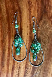 """Resell for 24.00 or more 3 1/4"""" long 1"""" wide Rhodium coated/ mint green ab glass Style #MGABDE101718"""
