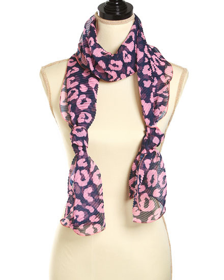 "**This purchase will also donate 1 scarf with earrings to a cancer patient**  resell for 27.00 or more  Blue & Pink / 100% Polyester / Polyester Woven Leopard Design Scarf  • 14.5"" x 86.5"" 	 Style #BPLS101918"