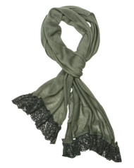"**This purchase will also donate 1 scarf with earrings to a cancer patient**  resell for 27.00 or more 100% Polyester/Grey/ Skinny Knit Scarf With Lace Trim That Adds Feminine Touch And Gives An Urban Look In This Fall And Winter.  • 12"" x 71"" 	 •   100% Polyester   Style #GSS101918"