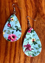 "Resell for 18.00 or more Lt Blue pink green floral  leatherette earrings 2 2/8 x 1 3/8"" Surgical steel ear wires Style #LBFLE102018"