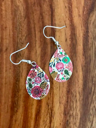 "Resell for 12.00 or more Laser lace enamel floral pear 1"" x 5/8"" Surgical steel ear wires Style #EFPE102018"