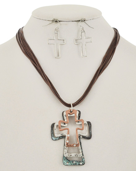 "resell for 60.00 or more Patina & Burnished Copper Tone & Burnished Silver Tone / Brown Multi Color Cord / Lead&nickel Compliant / Fish Hook (earrings) / Multi Strand / Religious / Graduating Cross / Necklace & Earring Set  •   LENGTH : 17 5/16"" + EXT •   PENDANT : 1 3/4"" X 3 9/16"" •   EARRING : 13/16"" X 1 5/8""	 •   SILVER/PATINA-ROSE GOLD  Style #MMBCCN102918"