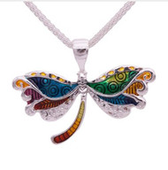 "resell for 18.00 or more 19 inch silver tone chain plus ext chain Plated pewter enameled dragonfly 2"" x 1.5 "" Style #BEBN102918"