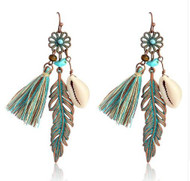 resell for 18.00 or more Boho Beach jewelry Patina Feather, Tassel, Brown, Turquoise, Shell, copper Style #BBFTE102918