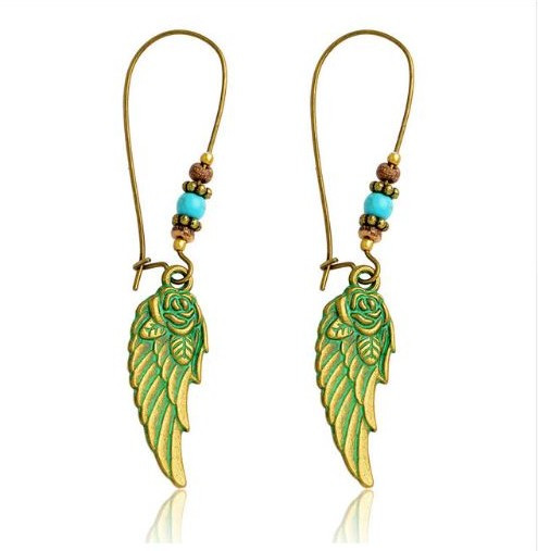 "resell for 18.00 or more Patina Rose Wing Earrings 2.5"" long Style #AWRPE102918"