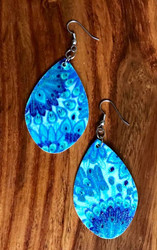 "Resell for 18.00 or more  Leatherette sparkly blue peacock  earrings  2 1/8 x 1 3/8"" Surgical steel ear wires Style #BSE103018"