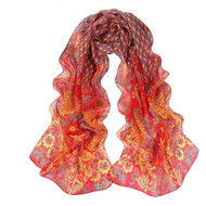 **This purchase will also donate 1 scarf with earrings to a cancer patient** *search scarves to see all we have available.  resell for 36.00 or more 53x68 inches Red Multi Peacock Design/ chiffon Style #RMPS103018
