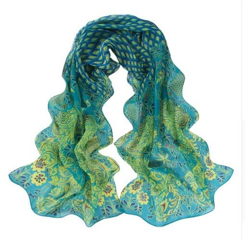 **This purchase will also donate 1 scarf with earrings to a cancer patient** *search scarves to see all we have available. 3 available 12.00 **at website resell for 36.00 or more 53x68 inches Teal Multi Peacock Design/ chiffon Style #TMPS103018