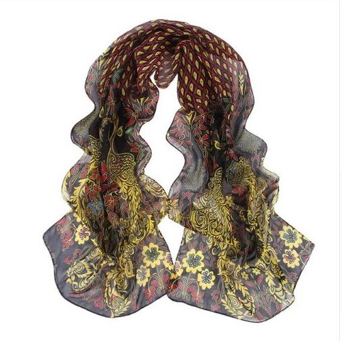 **This purchase will also donate 1 scarf with earrings to a cancer patient** *search scarves to see all we have available.  resell for 36.00 or more 53x68 inches Black Multi Peacock Design/ chiffon Style #BMPS103018