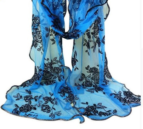 "**This purchase will also donate 1 scarf with earrings to a cancer patient** *search scarves to see all we have available.  resell for 45.00 or more 15x80"" Polyester Chiffon Spandex Bright Blue, Black, Gold Style #BBBGFS103018"