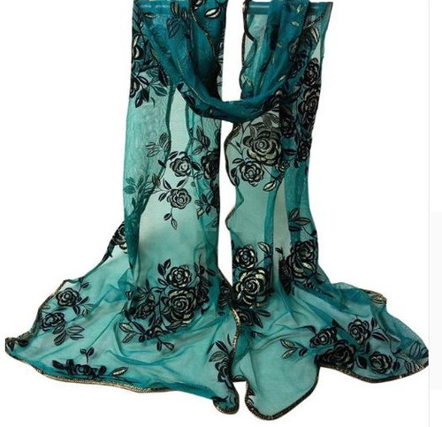 "**This purchase will also donate 1 scarf with earrings to a cancer patient** *search scarves to see all we have available.  resell for 45.00 or more 15x80"" Polyester Chiffon Spandex Drk Teal, Black, Gold"
