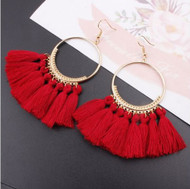 "resell for 15.00 or more Boho red tassel gold tone earrings 3"" long Style #BRTGTE103118"