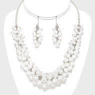 """resell for up to 75.00 • Color : White, Silver • Theme : Pearl  • Necklace Size : 17"""" + 3"""" L  • Decor Size : 1"""" L  • Earrings Size : 1 3/4"""" L • Pearl Cluster. Style #PCNS110118"""
