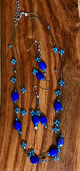 """Resell for 18.00 or more  18"""" plus ext chain  German acrylic blue / glass / satin gold-black string Style #BLUSSNS110118"""