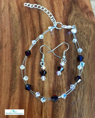 """20.00 resell for 60.00 or more Swarovski crystal. January Birthstone Garnet w Clear AB  7.5"""" plus ext Bracelet and Earring set Surgical steel ear wires Made by Ashley  Style #JANBSSCFBS110118"""