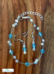 "20.00 resell for 60.00 or more Swarovski crystal. March Birthstone Aquamarine  w Clear AB  7.5"" plus ext Bracelet and Earring set Surgical steel ear wires Made by Ashley  Style #MARSCFBS110118"