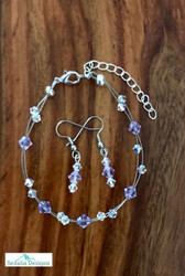 "20.00 resell for 60.00 or more Swarovski crystal. June Birthstone Alexandrite crystal w Clear AB  7.5"" plus ext Bracelet and Earring set Surgical steel ear wires Made by Ashley  Style #JUNSBSFBS110118"
