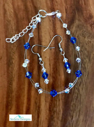 "20.00 resell for 60.00 or more Swarovski crystal. September Birthstone Sapphire crystal w Clear AB  7.5"" plus ext Bracelet and Earring set Surgical steel ear wires Made by Ashley  Style #SEPSBFBS110218"