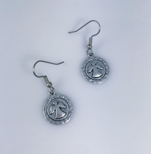 Resell for 6.00 or more Pewter angel  Surgical steel ear wires Style #ADPE110318