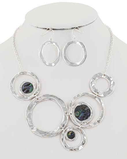 "22.00 resell for 66.00 or more Silver Tone / Multi Color Abalone Shell Epoxy / Lead&nickel Compliant / Metal / Fish Hook (earrings) / Necklace & Earring Set  •   LENGTH : 16"" + EXT •   EARRING : 1 1/8"" X 1 3/8"" •   DROP : 2 5/8""	 •   SILVER/MULTI  Style #AHCNS110618"
