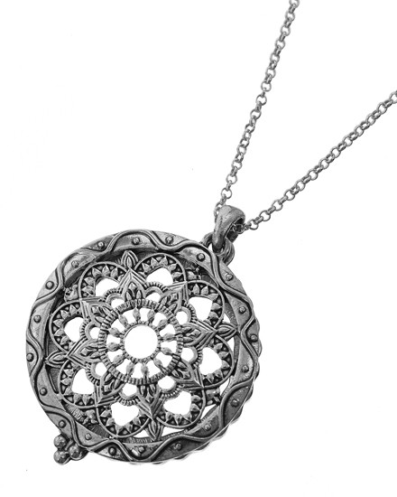 """resell for 66.00  Antique Silver Tone / Clear Magnifying Glass / Lead&nickel Compliant / Metal / Religious / Mandala / Long Necklace  •   LENGTH : 30"""" + EXT •   PENDANT : 2"""" X 1 1/2"""" •   SILVER  Style #MGN110918"""