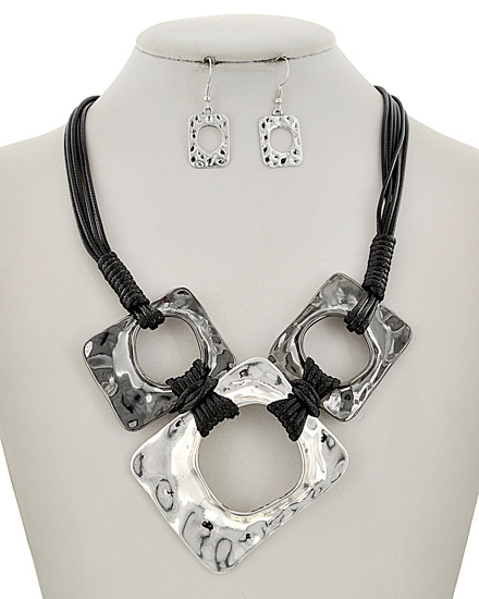 """resell for 75.00 or more Hematite Tone & Silver Tone / Black Cord / Lead&nickel Compliant / Metal / Fish Hook (earrings) / Multi Strand / Graduating Pendant / Necklace & Earring Set  •   LENGTH : 21 1/4"""" + EXT •   EARRING : 3/4"""" X 1 3/4"""" •   DROP : 3 1/4"""" •   SILVER/HEMATITE  Style #SHNS110918"""