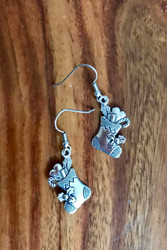 resell for 6.00 or more Pewter detailed Christmas Stocking Earrings Surgical Steel ear wires Style #CSE111218