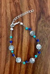 resell for 24.00 or more 7.5 inch Tree of Life Floating Bracelet plus ext turquoise magnesite/ blue howlite genuine stones Style #TLFB111318