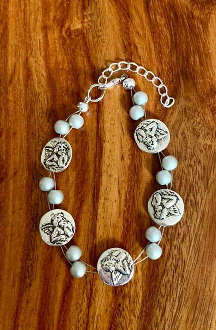 resell for 24.00 or more 7.5 inch plus ext Floating bracelet Angel / pewter/ glass matte silver pearl Style #MSAFB111318