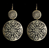 """resell for 12.00 or more 3.5"""" x 1 3/4"""" Laser Lace Silver Tone Circe Drop Earrings Style #LLSTCE111418"""