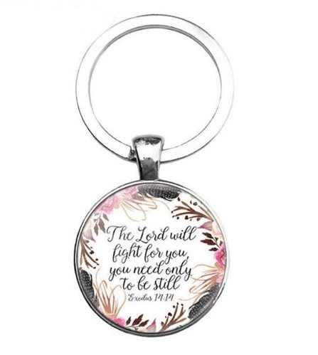 resell for 12.00 or more Bible Verse / Religious Key Chain  Exodus 14:14 The Lord will fight for you, you need only to be still. Style #BVKEX111618