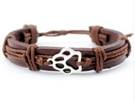 resell for 15.00 or more Pet Paw Leather corded bracelet/ Chinese knot closure/ fits 7 to 9 inch wrist Style #PPLB111618