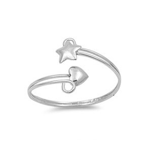 resell for 30.00 or more Sterling Silver Heart and Star Adjustable Ring with Face Height of 12MM Style #SSSHR111918