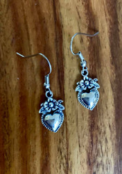 Resell for 6.00 or more Pewter heart w flower  Surgical steel ear wires Style #HFE111918
