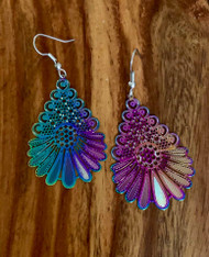 "resell for 21.00 or more  1 7/8 x 1 14"" Titanium laser lace earrings surgical steel earwires Style #TLLOT111918"