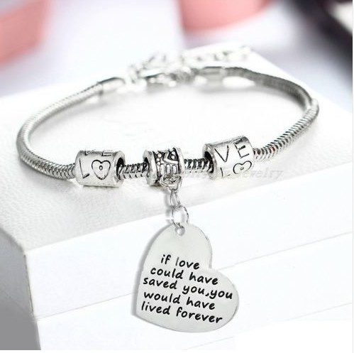 "resell for 18.00 or more 8"" silver tone bracelet / plus ext chain If Love Could Have Saved You, You would have lived forever Heart charm bracelet Style #ILSY112118"