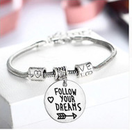 "resell for 18.00 or more 8"" silver tone bracelet plus ext chain Follow Your Dreams / Bracelet/ Love Heart Arrow / Positive Affirmation Style #FYDB112118"