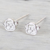 12.00 resell for 36.00  Sterling Silver Monkey 6x5mm Post Earrings Style #SSMPE112618