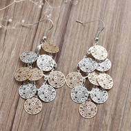 "resell for 15.00 or more 2 7/8"" drop multi metal/ laser lace/ ornate circle/ light weight Style #CDLLE112818"