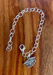 resell for 12.00 or more  7 to 8 inch link charm bracelet Pewter 2020 graduation charm Style #20GCB120318