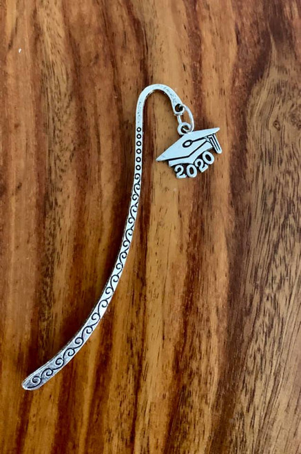 resell for 12.00 or more  Pewter 2020 graduation charm, pewter bookmark Style #20BM120318