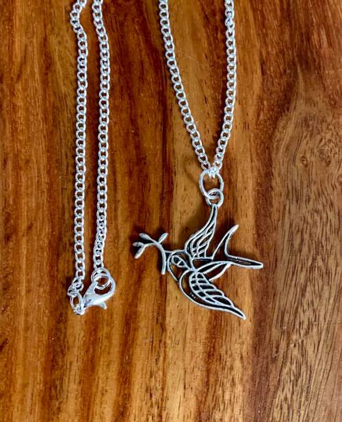 """resell for 12.00 or more 18"""" silver tone chain Pewter dove with olive branch approx 1 1/4"""" Style #DOBN120518"""