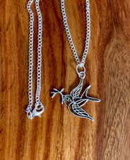 "resell for 12.00 or more 18"" silver tone chain Pewter dove with olive branch approx 1 1/4"" Style #DOBN120518"
