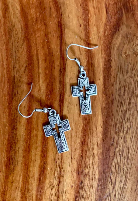 """resell for 9.00 or more Pewter swirl pattern cross earrings approx 1"""" x 1/2"""" Surgical steel ear wires Styles #PSCE120518"""