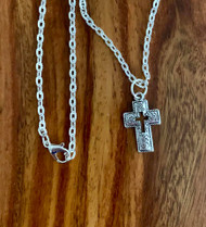 """resell for 12.00 or more 20"""" silver tone chain Pewter swirl pattern cross necklace approx 1"""" x 1/2"""" Style #PCN120518"""