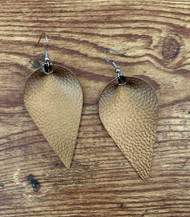 "resell for 18.00 or more Bronze eatherette leaf earrings 2 1/4 x 1 1/4"" Surgical steel ear wires Style #BLE120718"