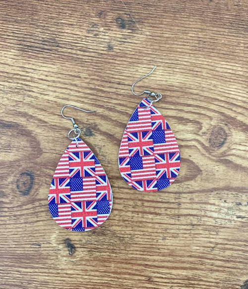 "Resell for 18.00 or more  LeatheretteFlag  earrings  2 1/8 x 1 3/8"" Surgical steel ear wires Style #RWB120718"
